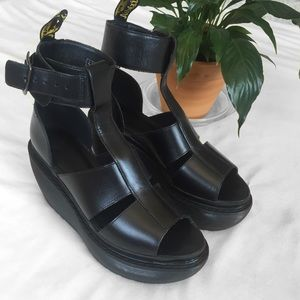 Dr. Martens Black Leather Bessie Platform Sandals